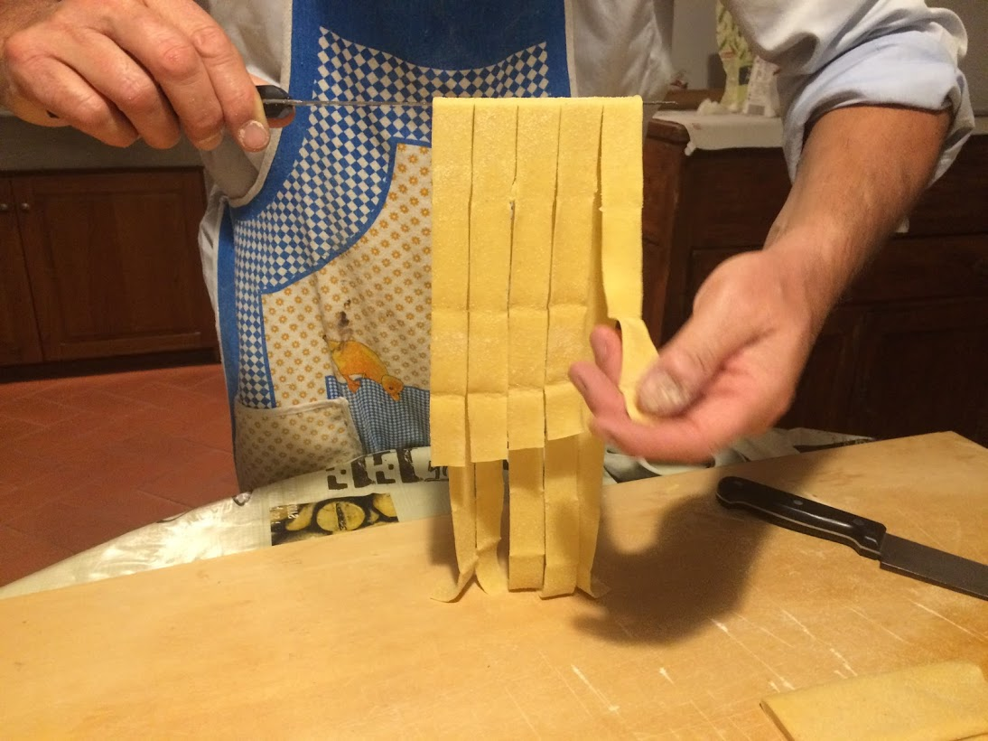 Making pappardelle Italian way